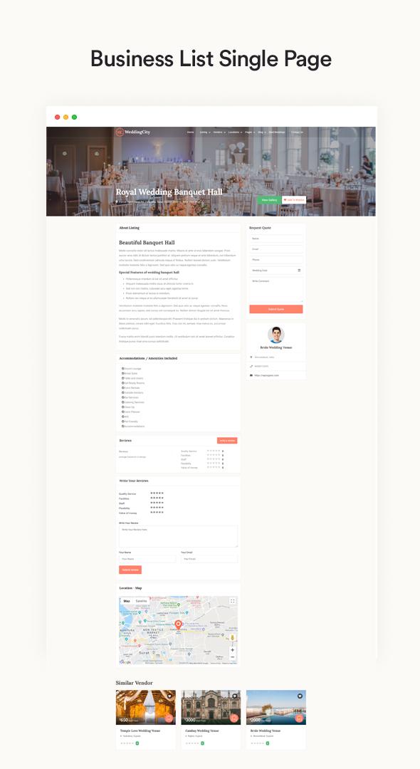 Weddingcity - Verzeichnis und Auflistung WordPress Vorlage
