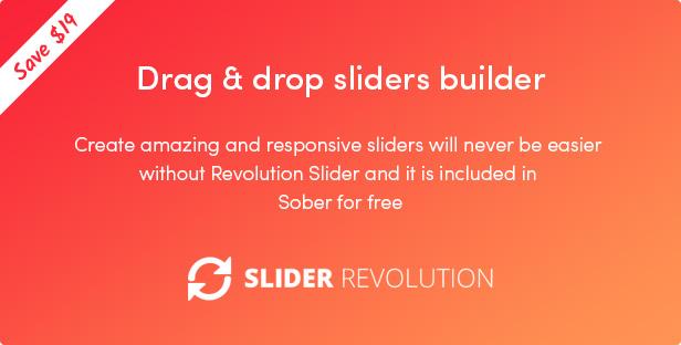 Das nüchterne WordPress-Vorlage enthält das Revolution Slider-Plugin