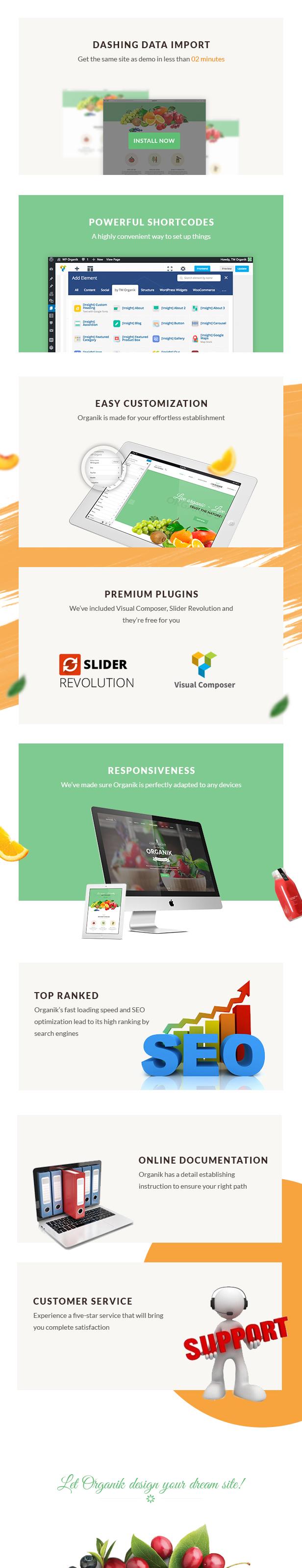Bio-Food WordPress Vorlage - Funktionswerkzeuge