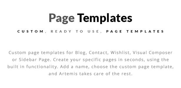 Optionen für Artemis WooCommerce WordPress Template Shop Sidebar