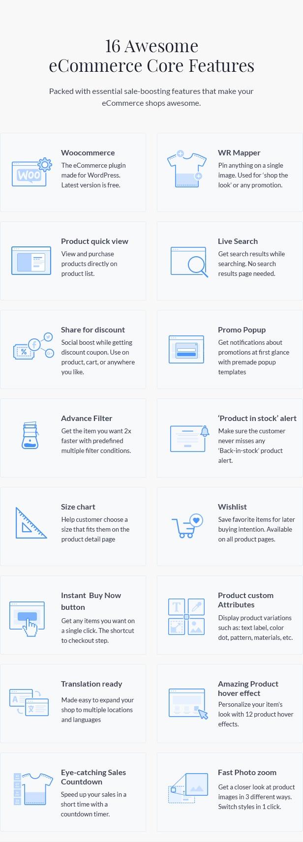 E-Commerce-Funktionen des Nitro-Themas