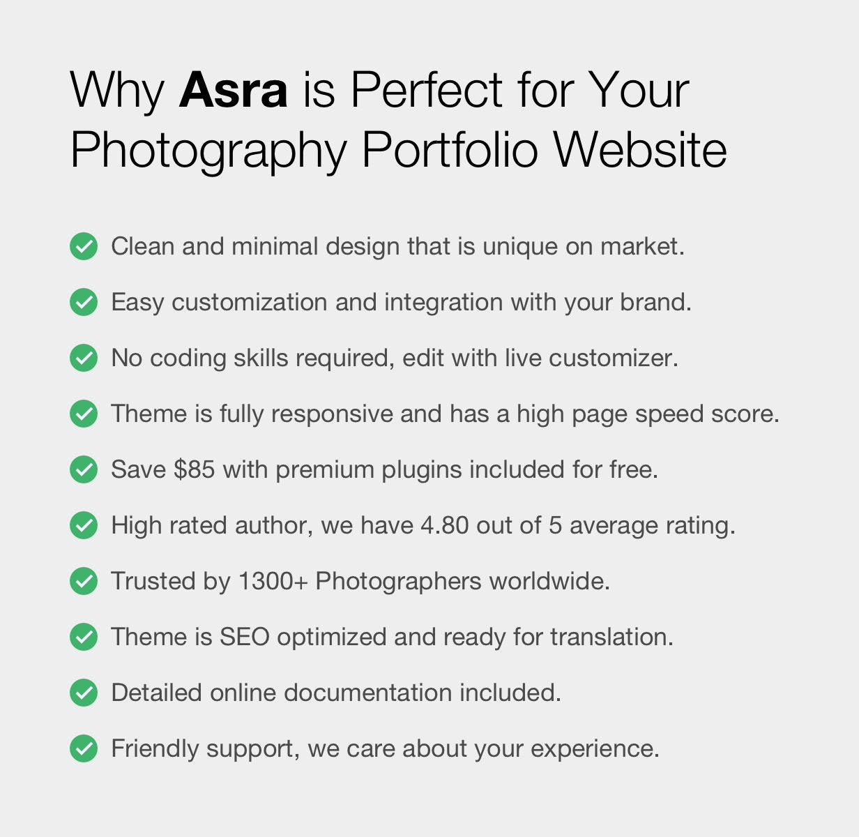 Asra - Minimalistisches Fotografie-Portfolio WordPress-Template - 3