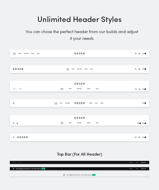 Nüchternes WordPress-Vorlage mit unbegrenzten Header-Styles
