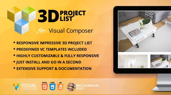 Wordpress Add-On Plugin 3D Project List Addon for WPBakery Page Builder (formerly Visual Composer)