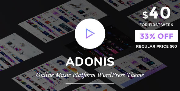 Wordpress Entertainment Template Adonis | Music Platform WordPress Theme