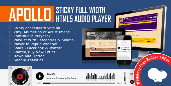 Wordpress Add-On Plugin Apollo - Sticky Full Width HTML5 Audio Player for WPBakery Page Builder (formerly Visual Composer)