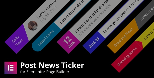 Wordpress Add-On Plugin Posts News Tickers for Elementor Page Builder