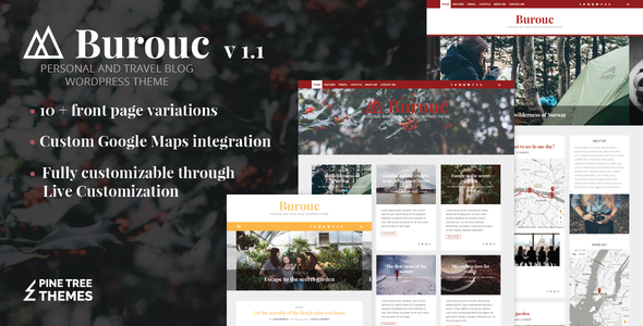 Wordpress Blog Template Burouc - Personal and Travel Blog WordPress Theme