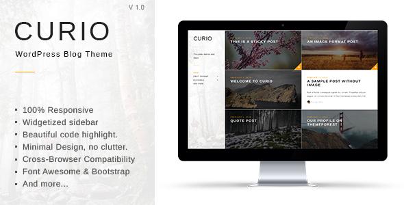 Wordpress Blog Template Curio - Responsive Minimal Blog Theme