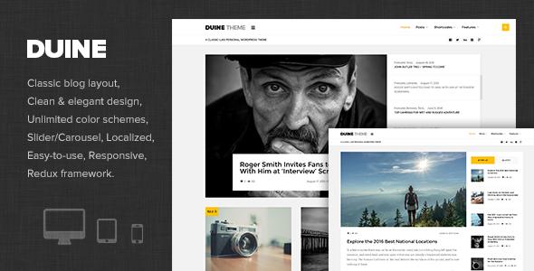 Wordpress Blog Template Duine - A Responsive WordPress Blog Theme