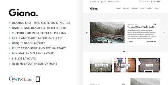 Wordpress Blog Template Giana - Minimal and Clean WordPress Blog Theme