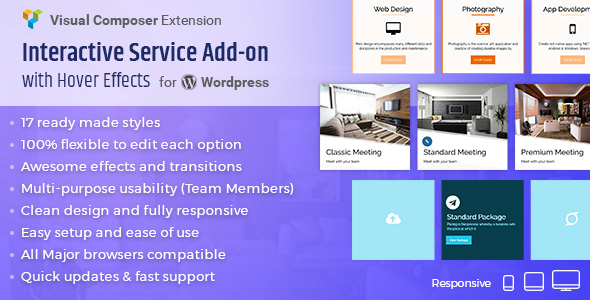 Wordpress Add-On Plugin Interactive Service Add-On with Hover Effects for Visual Composer