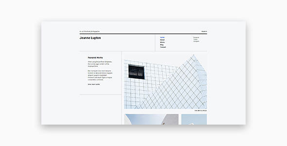 Wordpress Kreativ Template Jeanne - Minimal Photography and Portfolio WordPress Theme