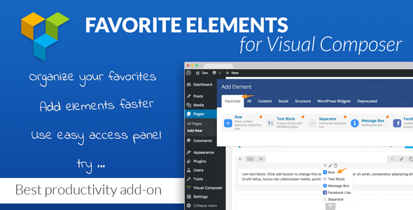 Wordpress Add-On Plugin Favorite Elements for Visual Composer - Best Productivity Add-on