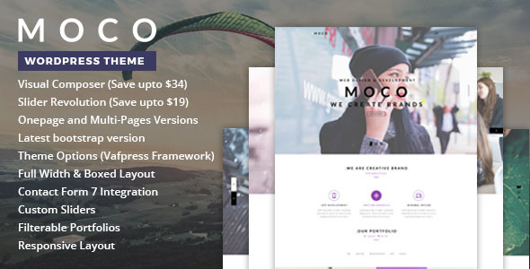Wordpress Kreativ Template Moco - One Page WordPress Theme