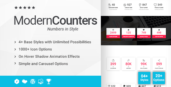 Wordpress Add-On Plugin Modern Counters Addon for WPBakery Page Builder (formerly Visual Composer)