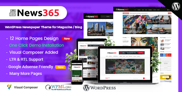 Wordpress Blog Template News365 - WordPress Newspaper Theme for Magazine / Blog