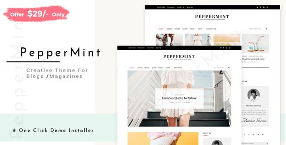 Wordpress Blog Template PepperMint - Creative WordPress Theme for Blogs/Mini-Magazines