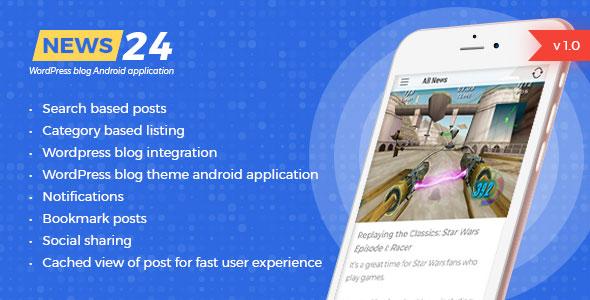 News 24 - WordPress Blogs & News Android-App - Google-Anzeigen integriert - CodeCanyon Artikel zum Verkauf