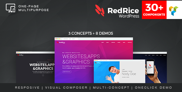 Wordpress Kreativ Template RedRice - WordPress One-Page Multipurpose Theme