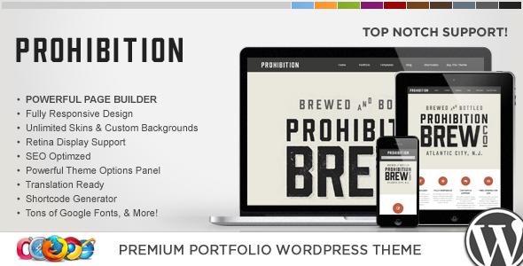 Wordpress Kreativ Template WP Prohibition Responsive Creative WordPress Theme
