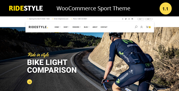 Wordpress Shop Template Ridestyle - Sport WooCommerce Theme