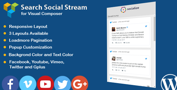 Wordpress Add-On Plugin WPBakery Page Builder - Search Social Stream with Box Layout (formerly Visual Composer)