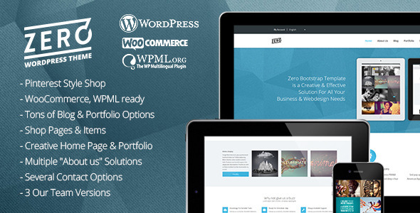 Wordpress Corporate Template Zero - Responsive Parallax, Multipurpose, Portfolio, Creative, Blog WordPress Theme with Shop