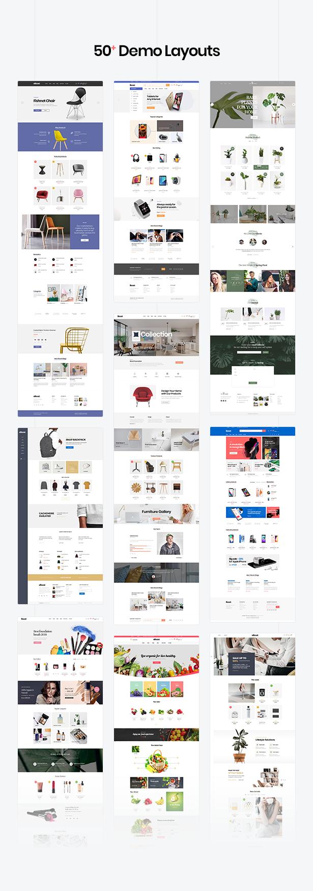 Mehrfache woocommerce WordPress Template - 57+ Nischen Homepage Demos