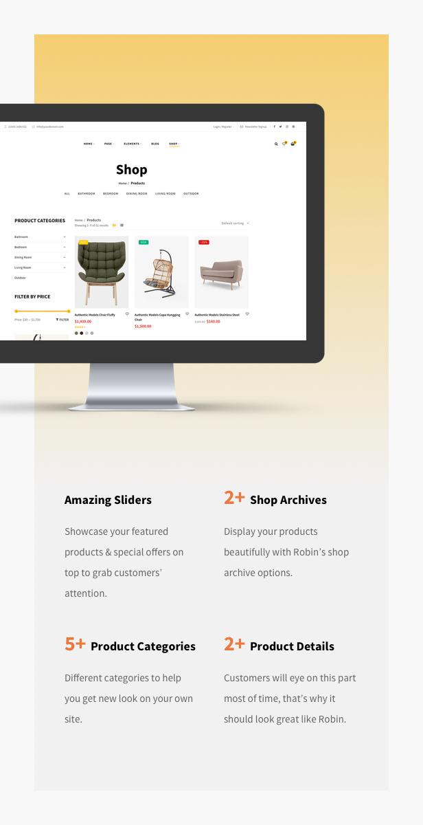 Möbelgeschäft WooCommerce WordPress Layout - Nach Markenfilter einkaufen