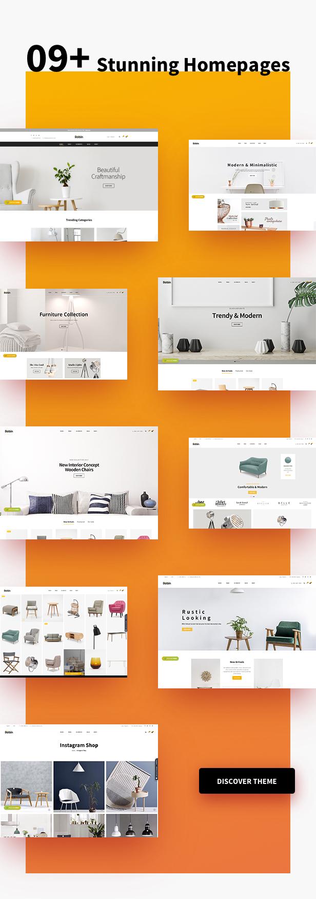 Möbelgeschäft WooCommerce WordPress Layout - Einkaufslayouts & Optionen