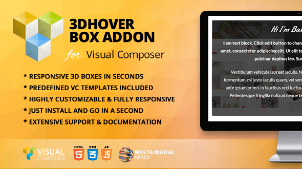 Wordpress Add-On Plugin 3D Hover Box Addon for WPBakery Page Builder (formerly Visual Composer)