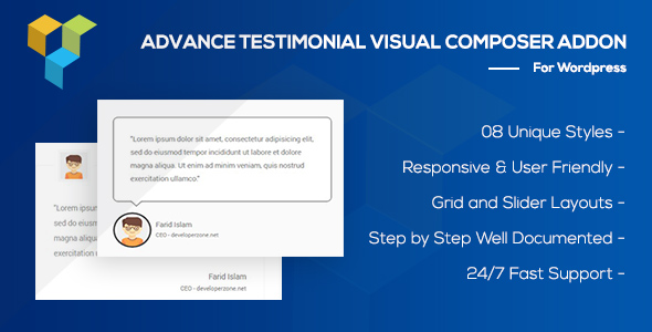 Wordpress Add-On Plugin Advance Testimonial Addon for WordPress (formerly Visual Composer)