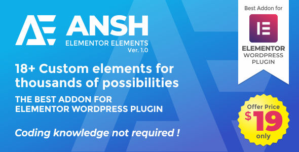 Wordpress Add-On Plugin Ansh Elements For Elementor