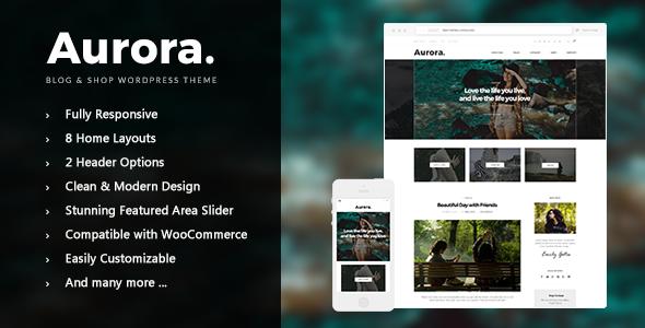 Wordpress Blog Template Aurora - Lifestyle Blog and Shop WordPress Theme