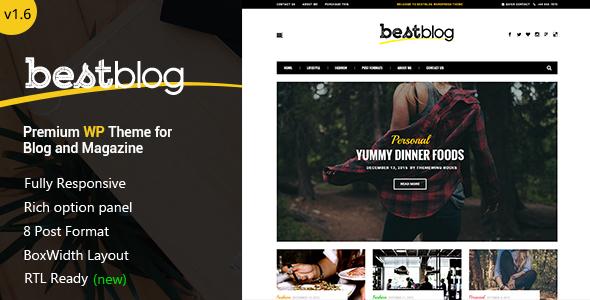Wordpress Blog Template BestBlog - Responsive WordPress Blog Theme