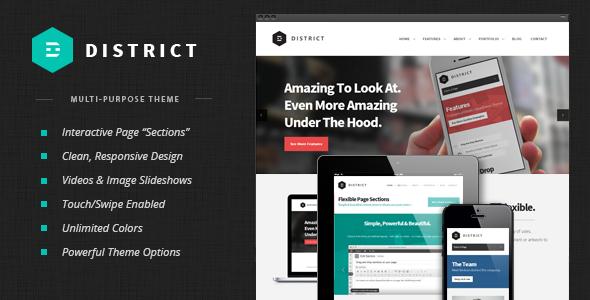 Wordpress Corporate Template District: Responsive Multi-Purpose Theme
