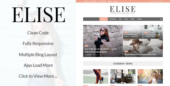 Wordpress Blog Template Elise - Wonderful WordPress Blog and Magazine