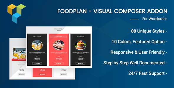Wordpress Add-On Plugin Foodplan - Visual Composer Addon