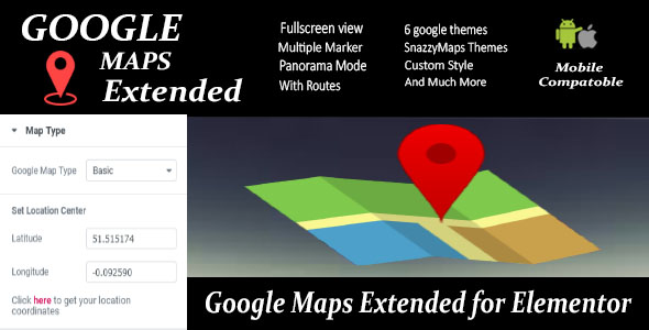 Wordpress Add-On Plugin Google Maps Extended for Elementor
