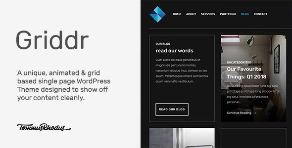 Wordpress Kreativ Template Griddr - Animated Grid Creative WordPress Theme