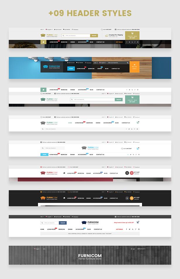 Reaktionsschnelle Möbel WooCommerce WordPress Template - Header