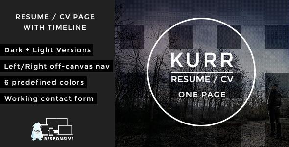 Wordpress Kreativ Template Kurr - Personal Resume and Portfolio Theme