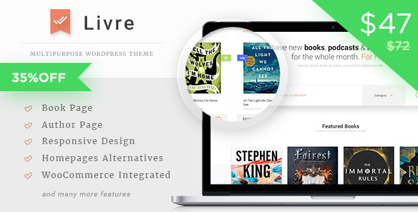 Wordpress Shop Template Livre - WooCommerce Theme For Book Store