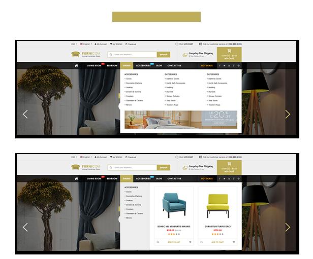 Reaktionsschnelle Möbel WooCommerce WordPress Template - Menü Stile
