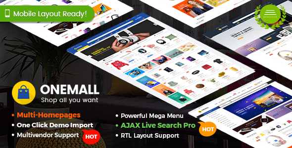 Wordpress Shop Template OneMall - eCommerce MarketPlace WooCommerce WordPress Theme (Mobile Layouts Included)