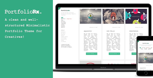 Wordpress Kreativ Template PortfolioRx - A clean and well-structured Minimalistic Portfolio Theme for Creatives!