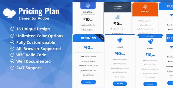 Wordpress Add-On Plugin Pricing Plan / Pricing Table WpBakery Addon Plugin