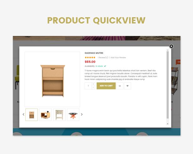 Responsive Furniture WooCommerce WordPress Template Schnellansicht