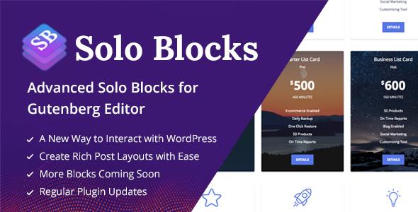 Wordpress Add-On Plugin SoloBlocks - Blocks for WordPress Gutenberg Editor